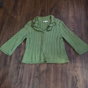 CAbi green button up cardigan with flower accent